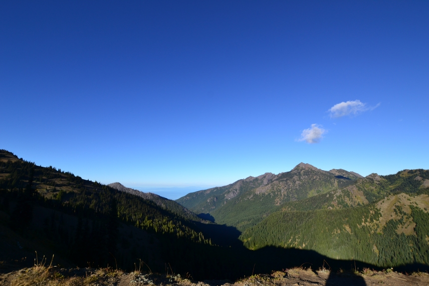 Blue skies and mountain views on the Hurricane Hill trail, Olympic National Park
