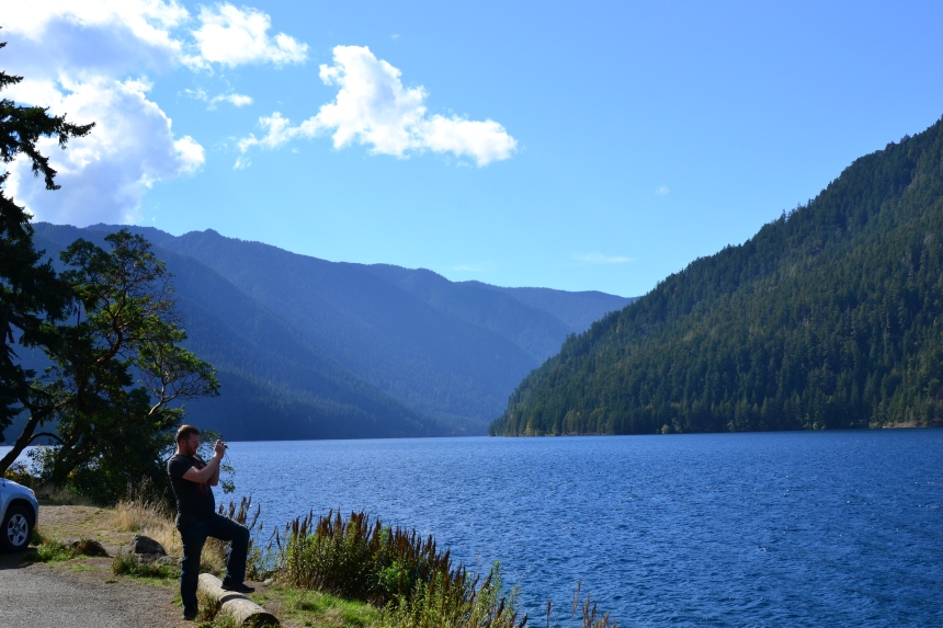 View of Lake Crescent on a sunny day on the Olympic Peninsula Washington State