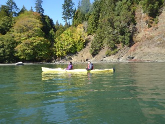 Sea kayaking for the first time. Touring with Adventures through kayaking out of Fresh Water Bay, Washington State
