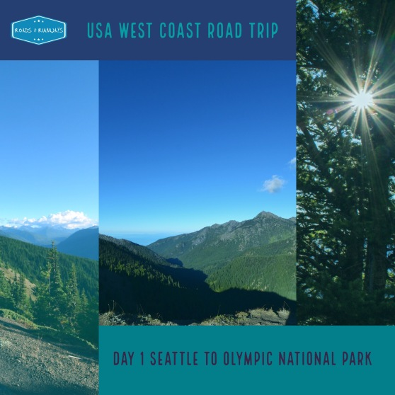 pinterest image, Day 1 Seattle to Olympic National Park. USA West Coast Road Trip