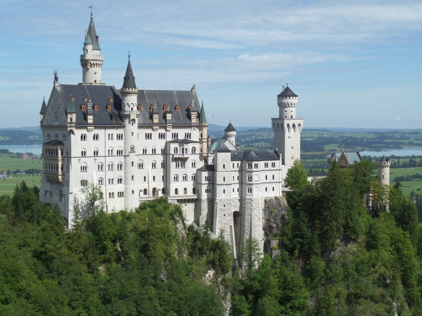 Closer view of Neuschwanstein Castle from marion bridge