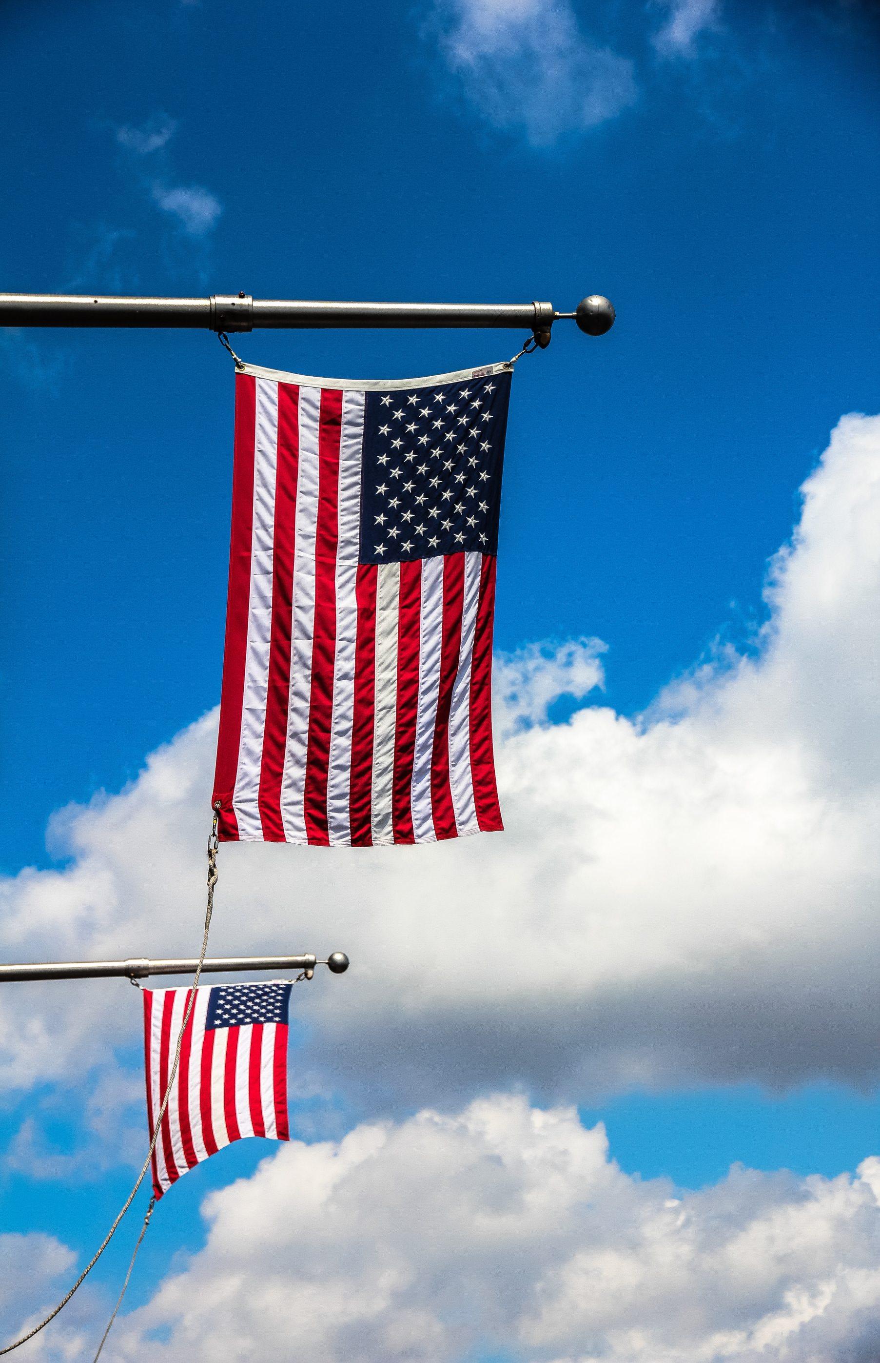 USA Flag on blue sky