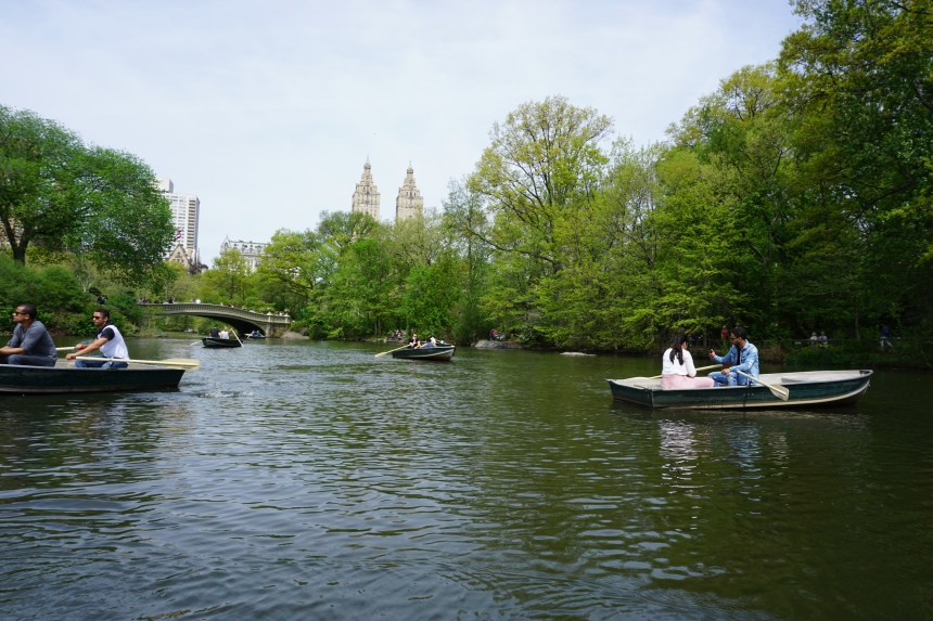 Rowing boats on The Lake, Central Park
