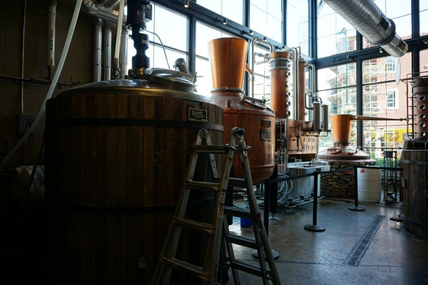 Stills and kettles inside the Sugarlands Distillery Gatlinburg Tennessee