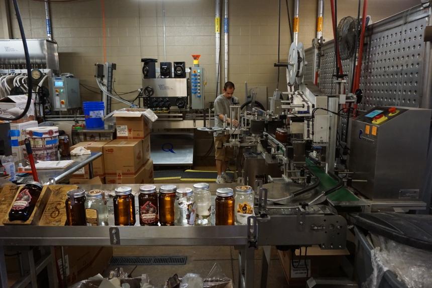 Bottling area inside Sugarlands Distillery Tennessee