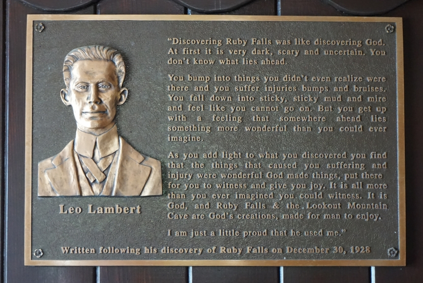 Leo Lambert plaque at Ruby Falls in Tennessee