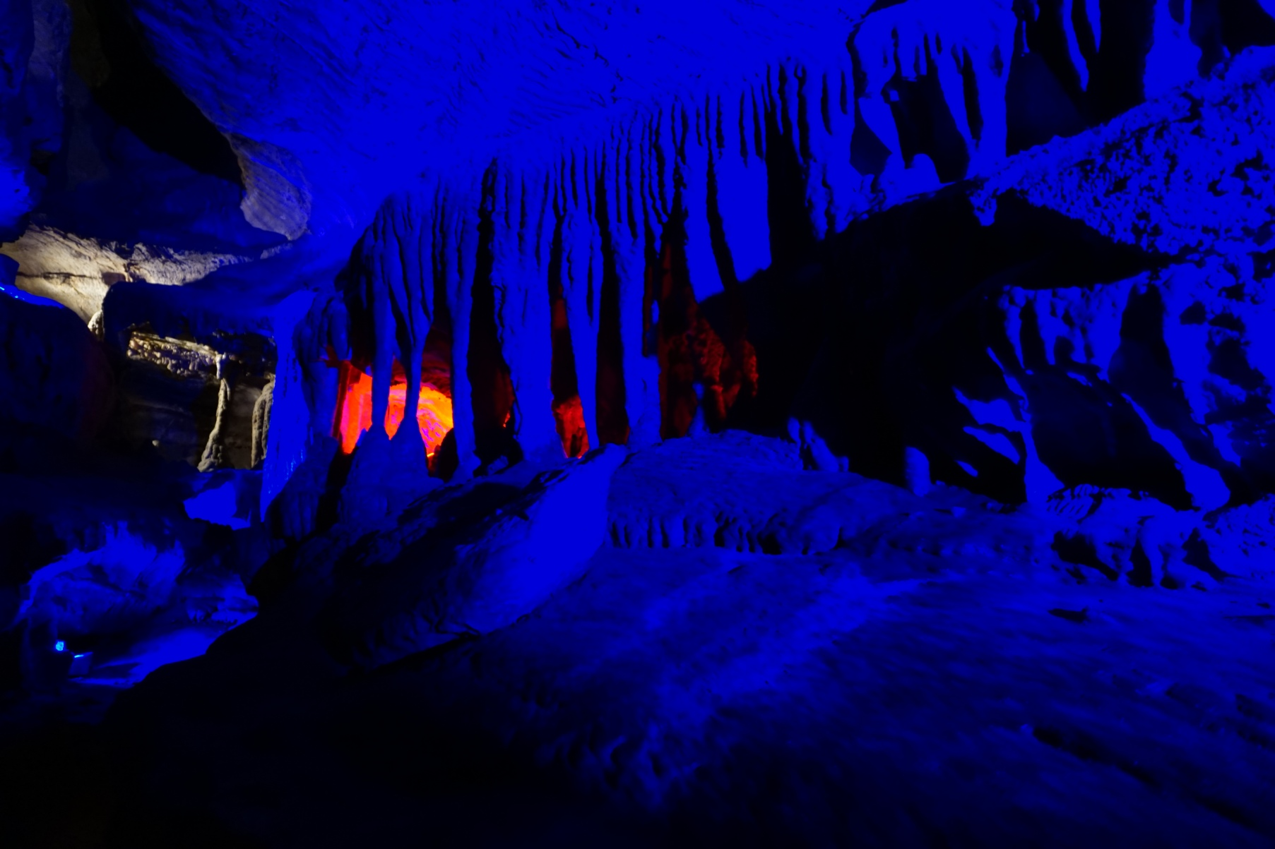 Blue lighting inside Ruby Falls, Lookout Mountain Tennessee