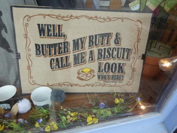 Funny slogan on a doormat
